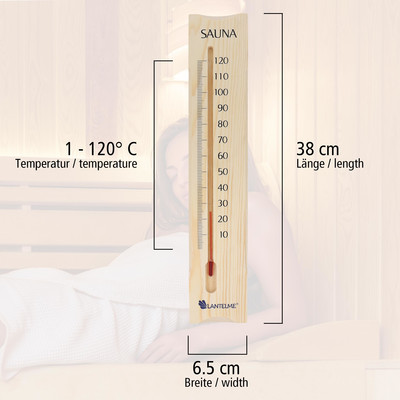 Sauna Thermometer Holz 38 cm